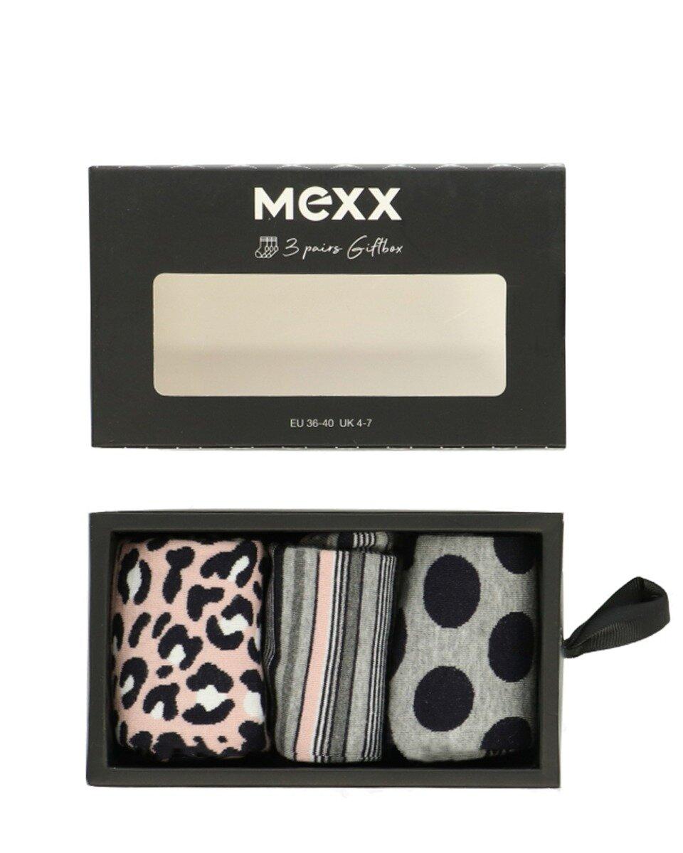 Cadeaubox damessokken multi-print roze / grijs