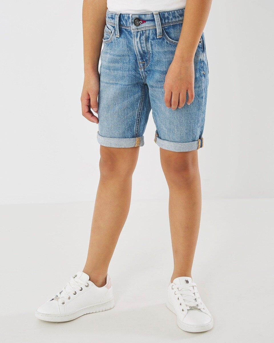 Korte spijkerbroek Juno vintage blauw