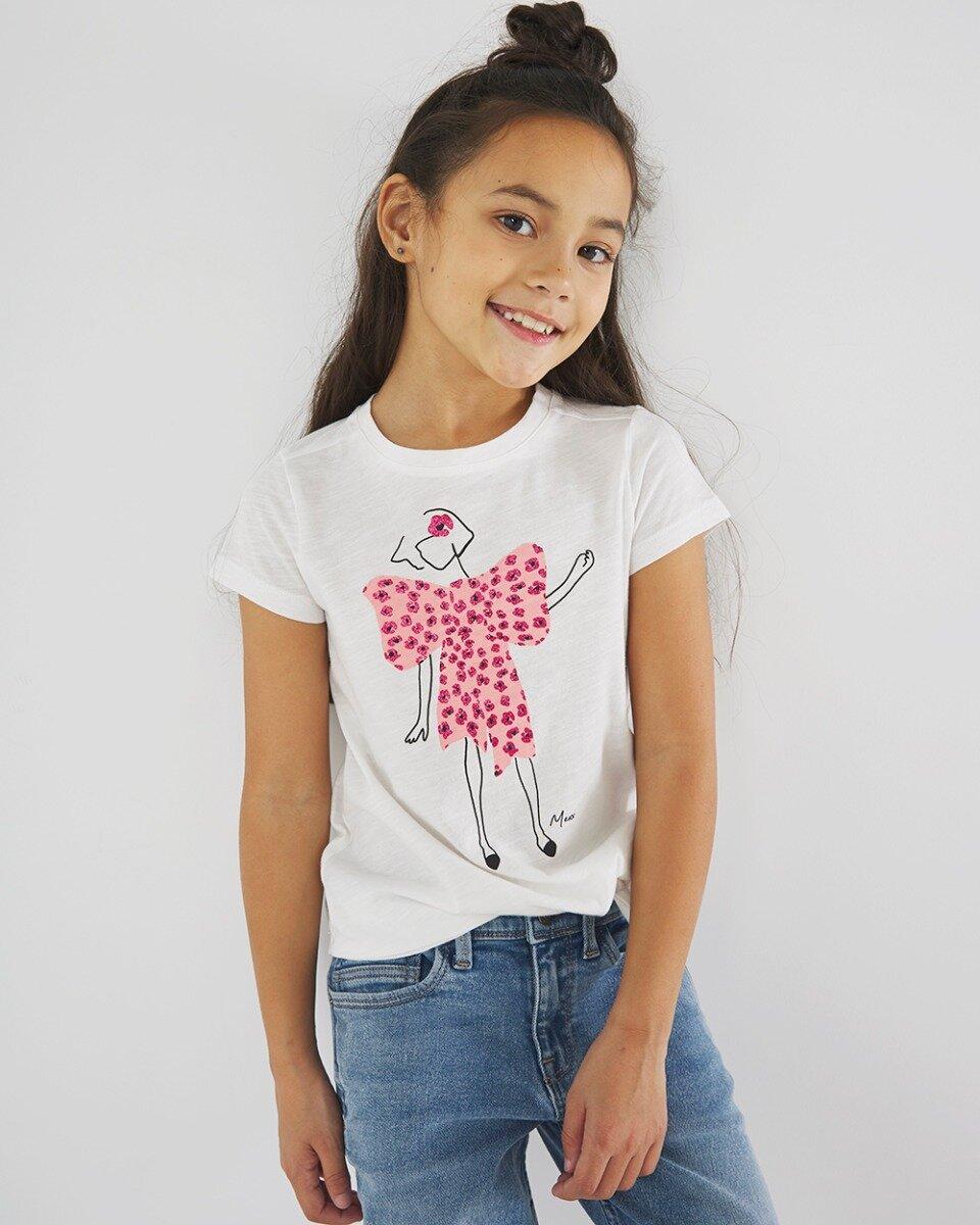 Wit T-shirt met zacht roze print