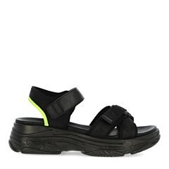 Sandal-Emanuela-Black/Fluo-Yellow