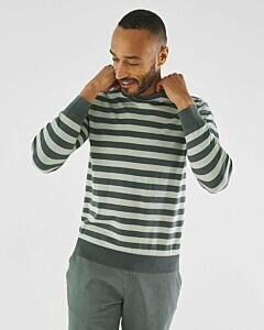 Stripped sweater dark green