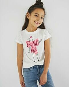 White T-shirt with soft pink print