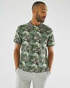 Pique-polo-with-print-dark-green