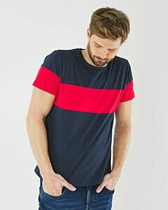 T-shirt-Navy-With-Striking-Red-Strip