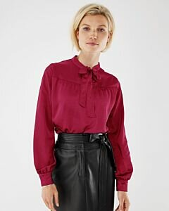 Mexx Women Blouse Bow Wine Red