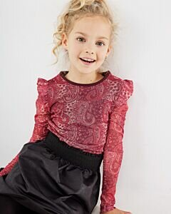 Mexx girls red top wit paisley print