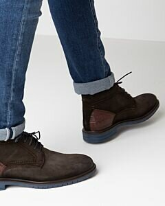 Mexx  dark brown lace-up shoe for men suede with croco printed back