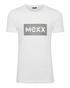 Mexx-Mens-T-Shirt-O-Neck-Big-Logo-High-Density-Print-White/Black