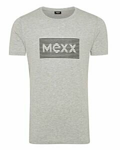 Mexx-Mens-T-Shirt-O-Neck-Big-Logo-High-Density-Print-Grey-Melange/Black
