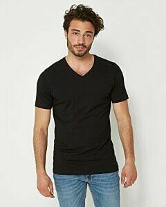 Schwarzes-Herren-T-Shirt-mit-V-Ausschnitt