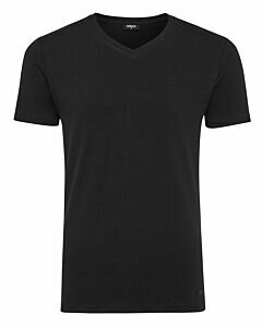 Men-T-Shirt-V-Neck-Rubber-Patch-Black