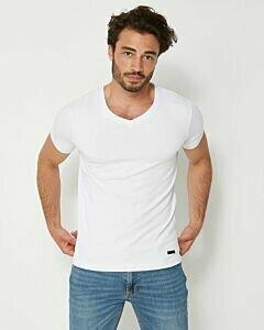 Weißes-Herren-T-Shirt-mit-V-Ausschnitt