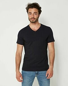 Mexx Men T-Shirt V-Neck Rubber Patch Navy