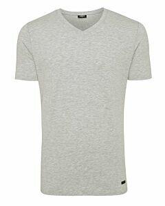Men-T-Shirt-V-Neck-Rubber-Patch-Grey-Melange