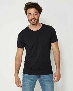 Dunkelblaues-Herren-T-Shirt-mit-Rundhalsausschnitt