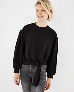Knotted Long Sleeve Top Black