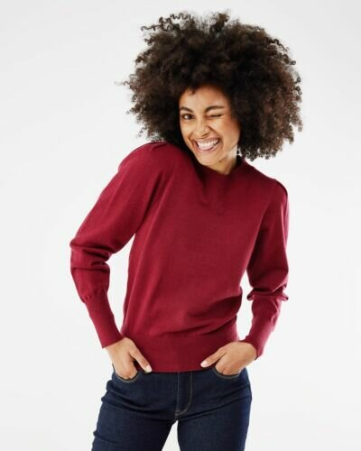 Mexx wine red pullover with balloon sleeves for women