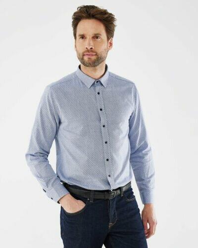 Mexx men's button up shirt light blue with pattern