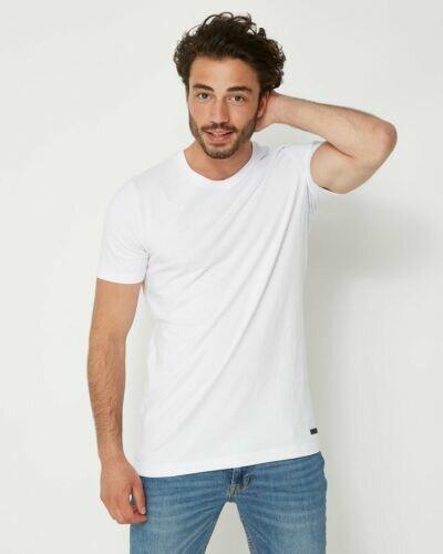Men T-Shirt Round-Neck White