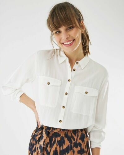 Off White Blouse With Collar