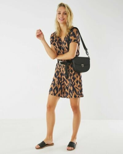 Short Jumpsuit With Brown Print