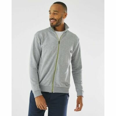 Turtleneck Cardigan with zipper grey melee