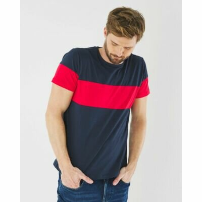 T-shirt Navy With Striking Red Strip