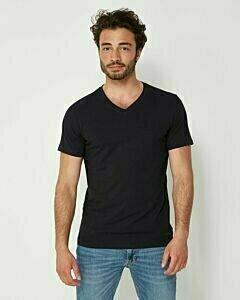 Mexx Men T-Shirt V-Neck Rubber Patch Navy