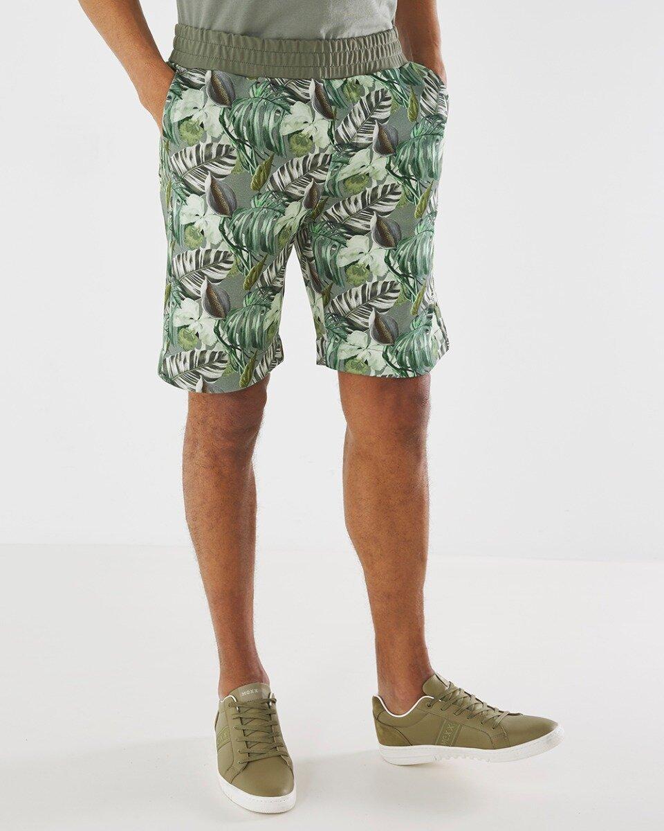 Korte broek met print donkergroen