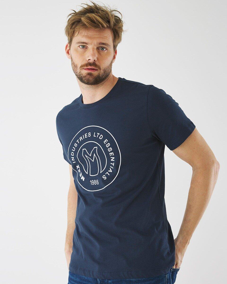 T-shirt Met Logo Print Donkerblauw