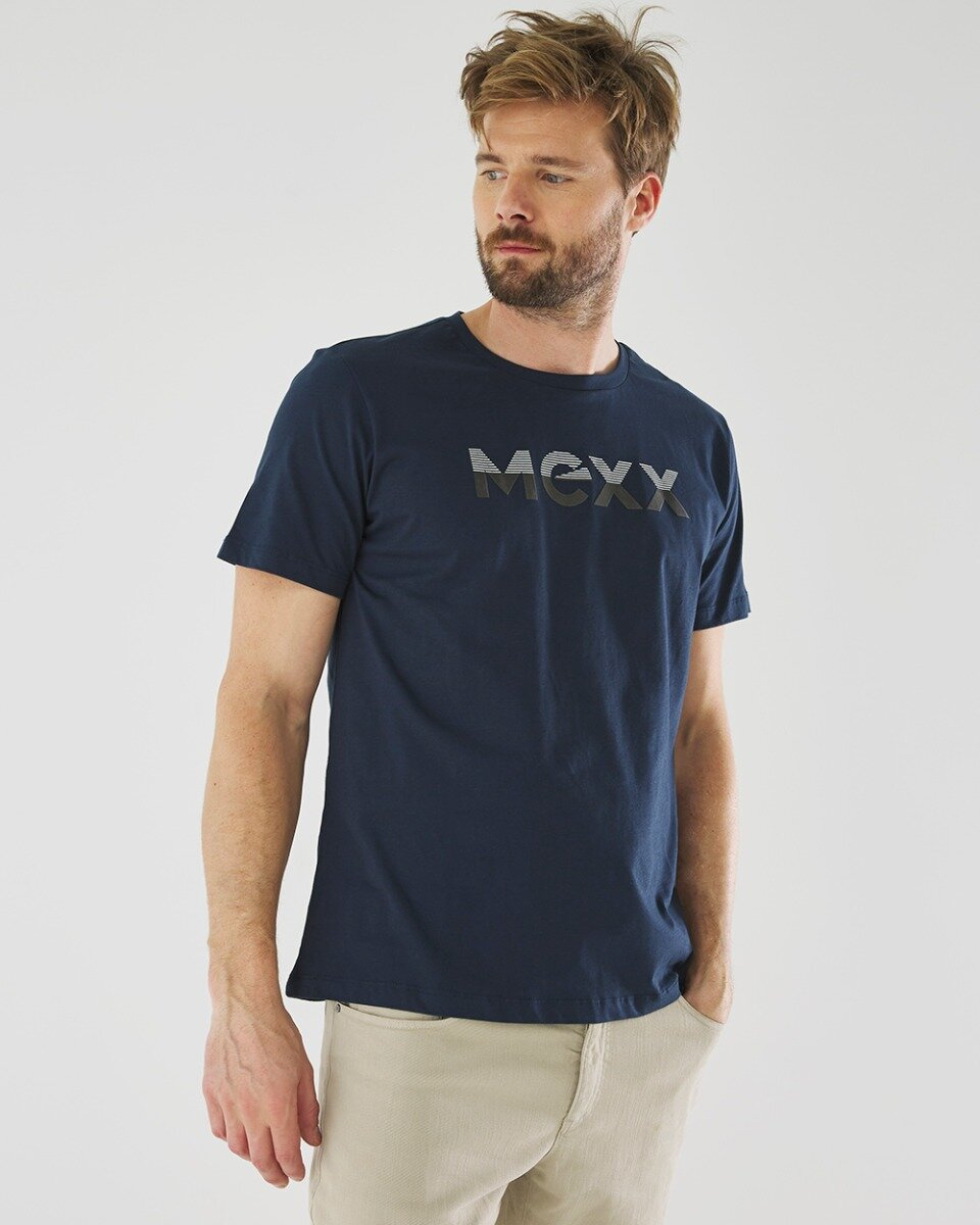 T-shirt Mason Met Logo Print Donkerblauw