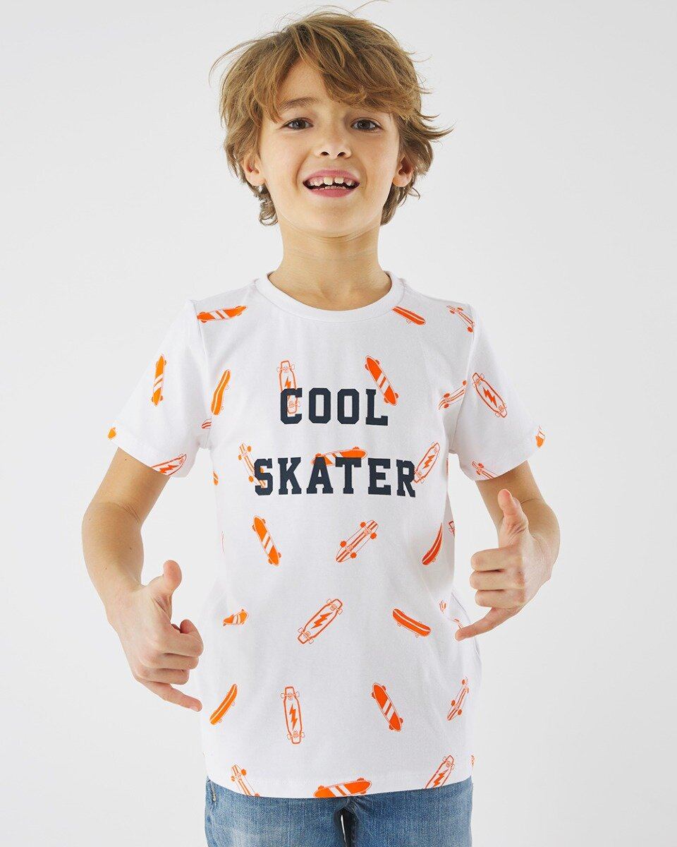 T-shirt With Cool Skater Print White