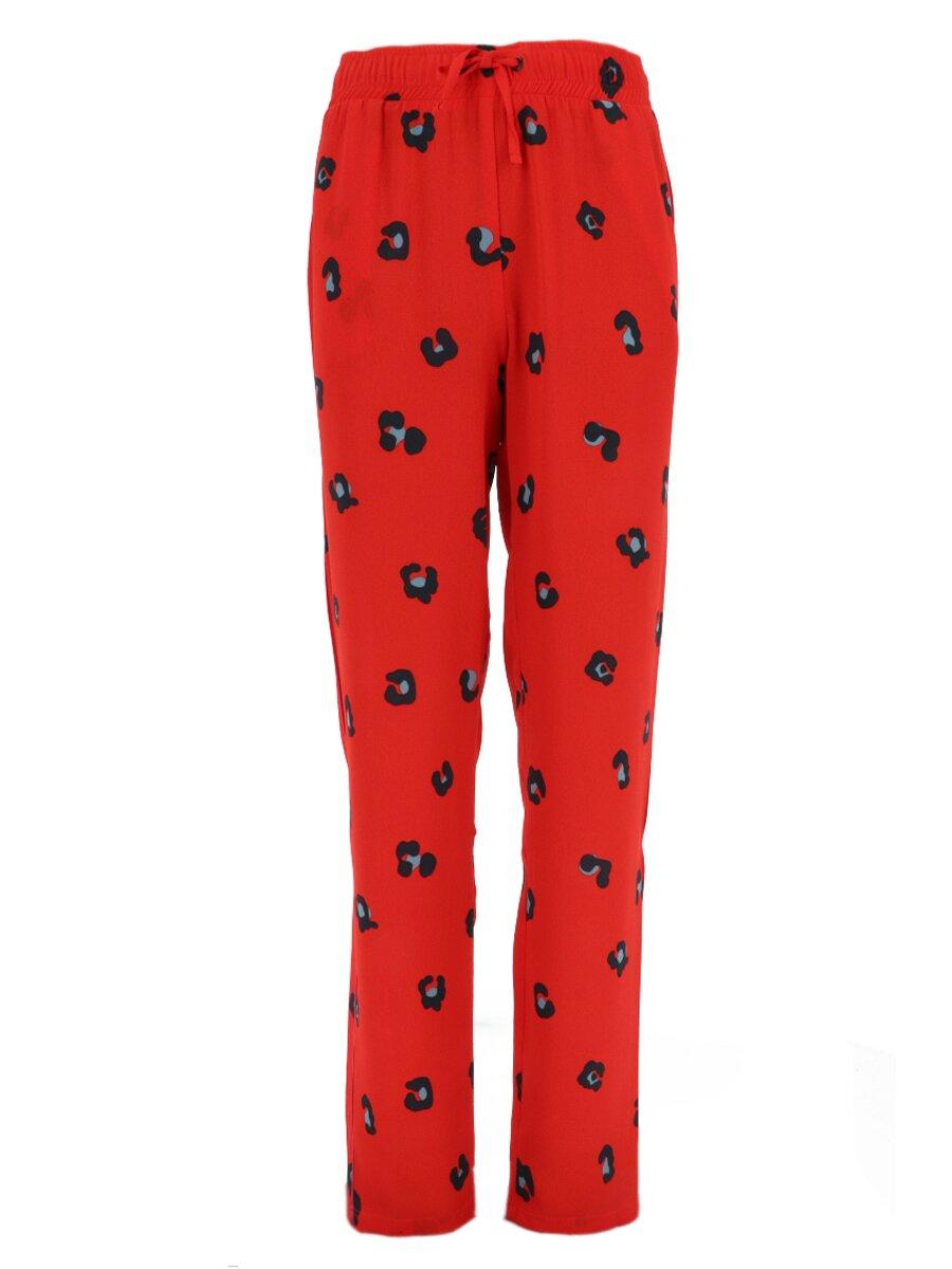 Rode broek met panter stippen