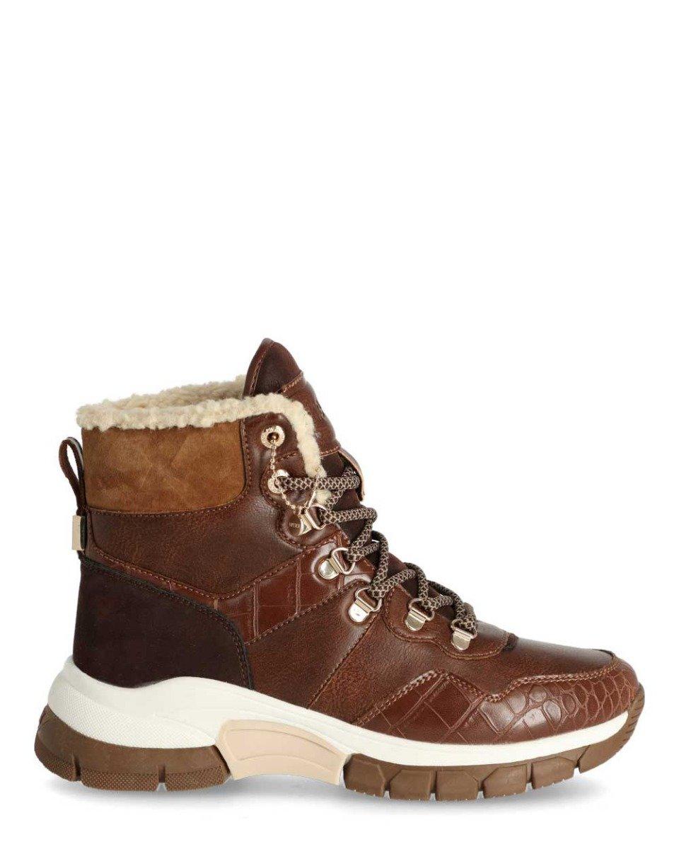 Hoge Sneaker Faylin Bruin/Cognac