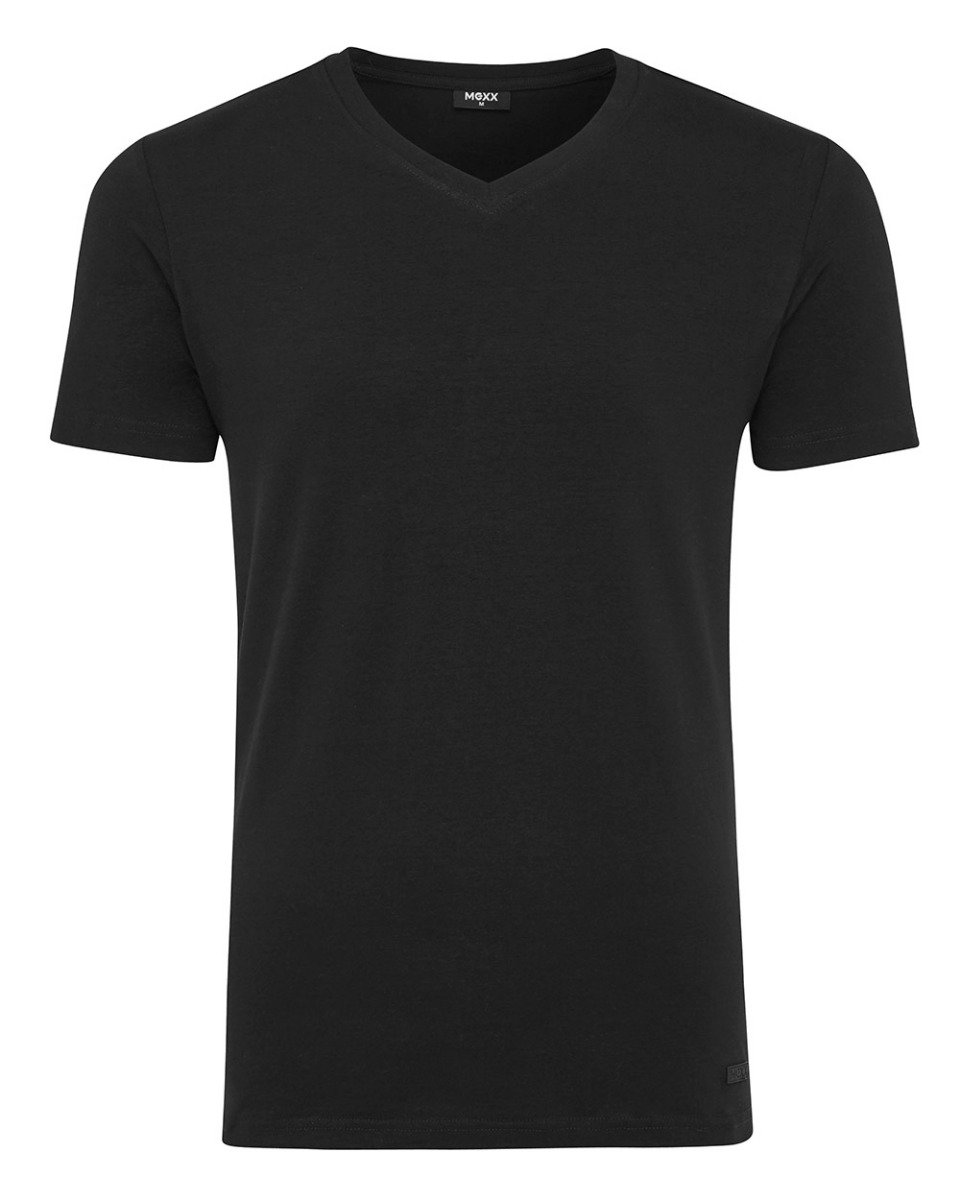 Men T Shirt V Neck Rubber Patch Black Mexx Mexx Com