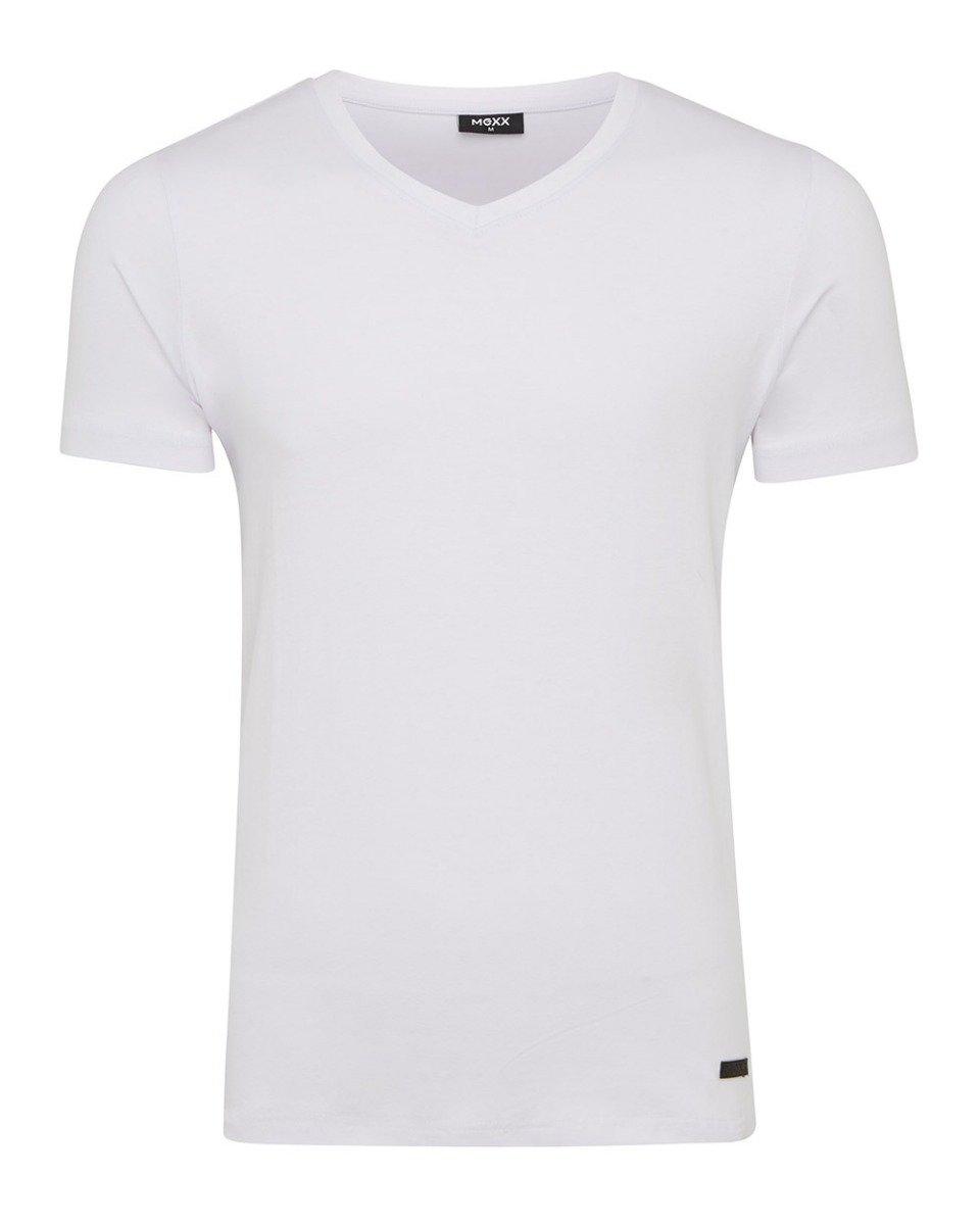 Wit heren T-shirt met v-hals