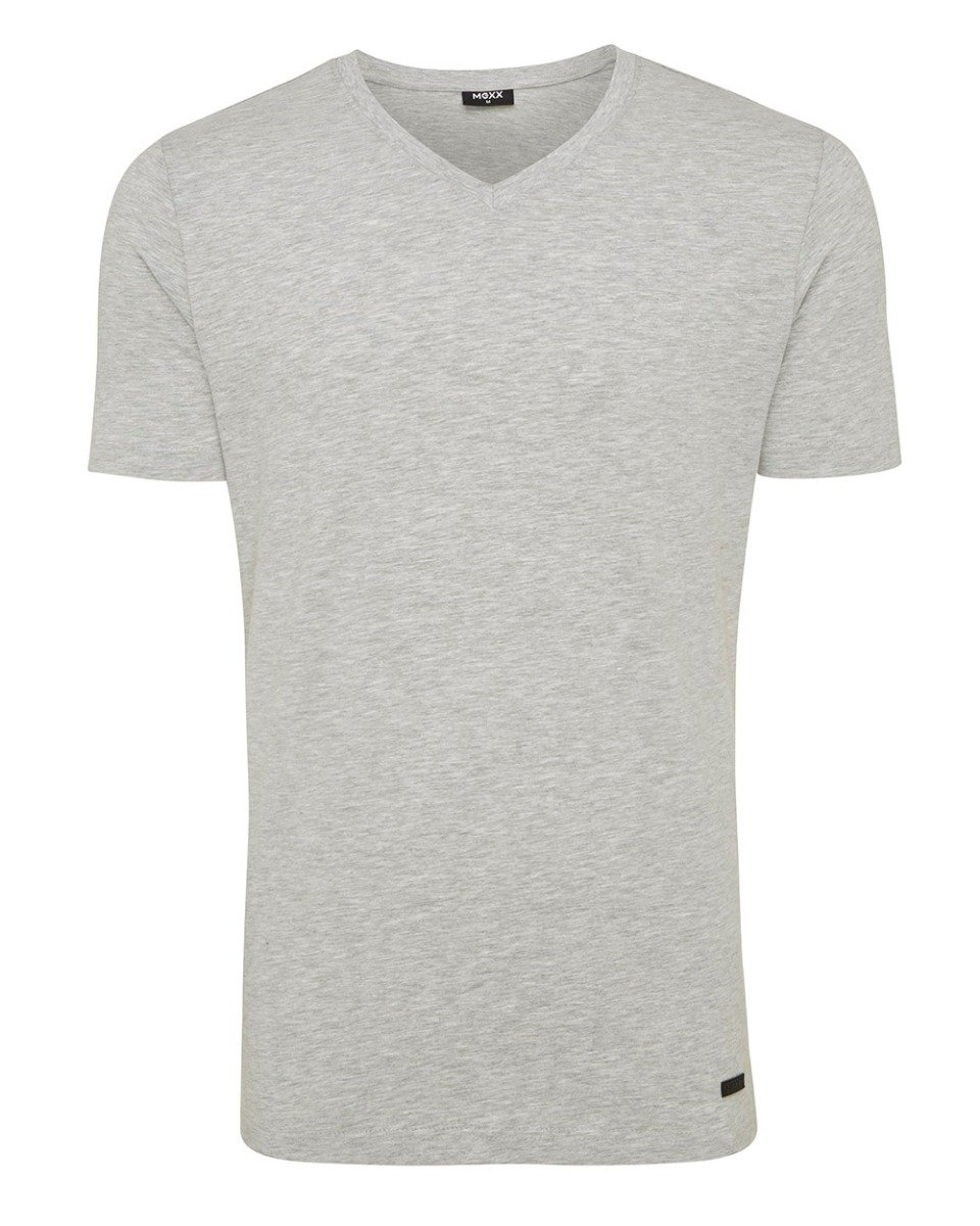 Men T Shirt V Neck Rubber Patch Grey Melange Mexx Mexx Com