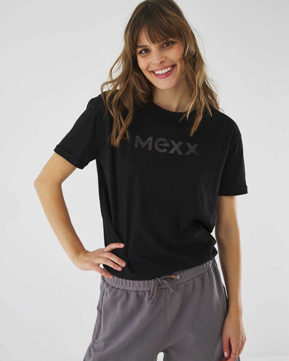 T-shirt Met Mexx Logo In Het Zwart