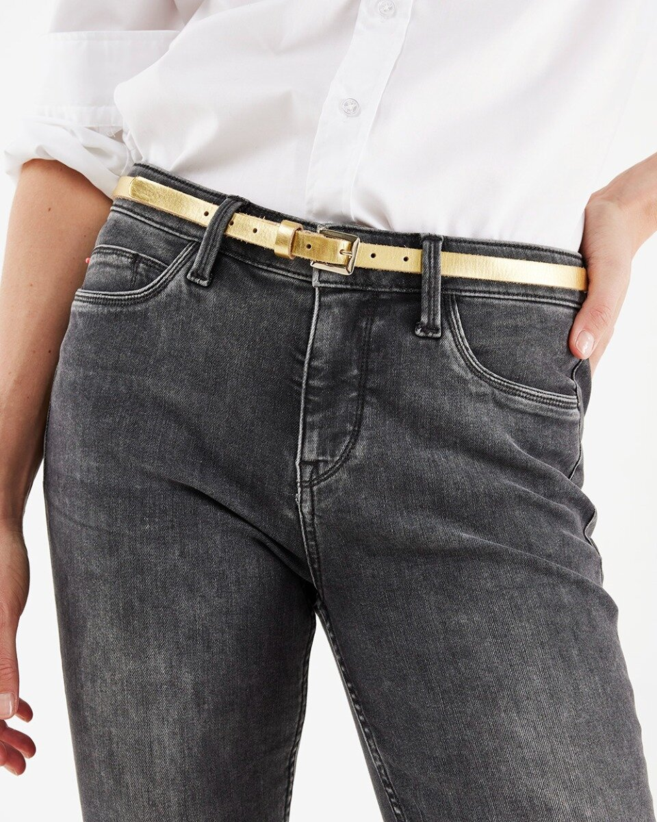Leather metallic belt Gold