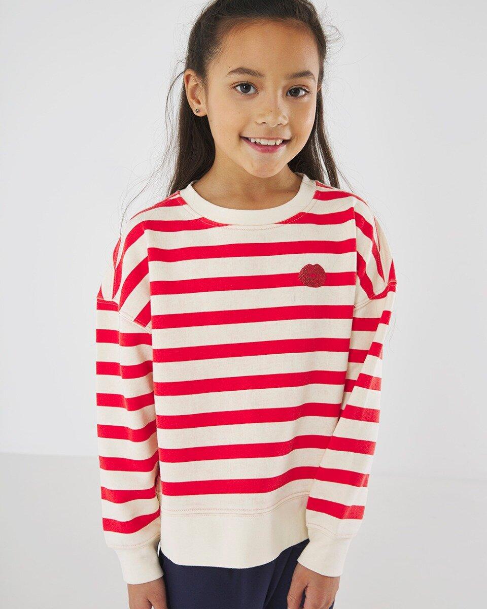 Gebroken witte trui met rode strepen
