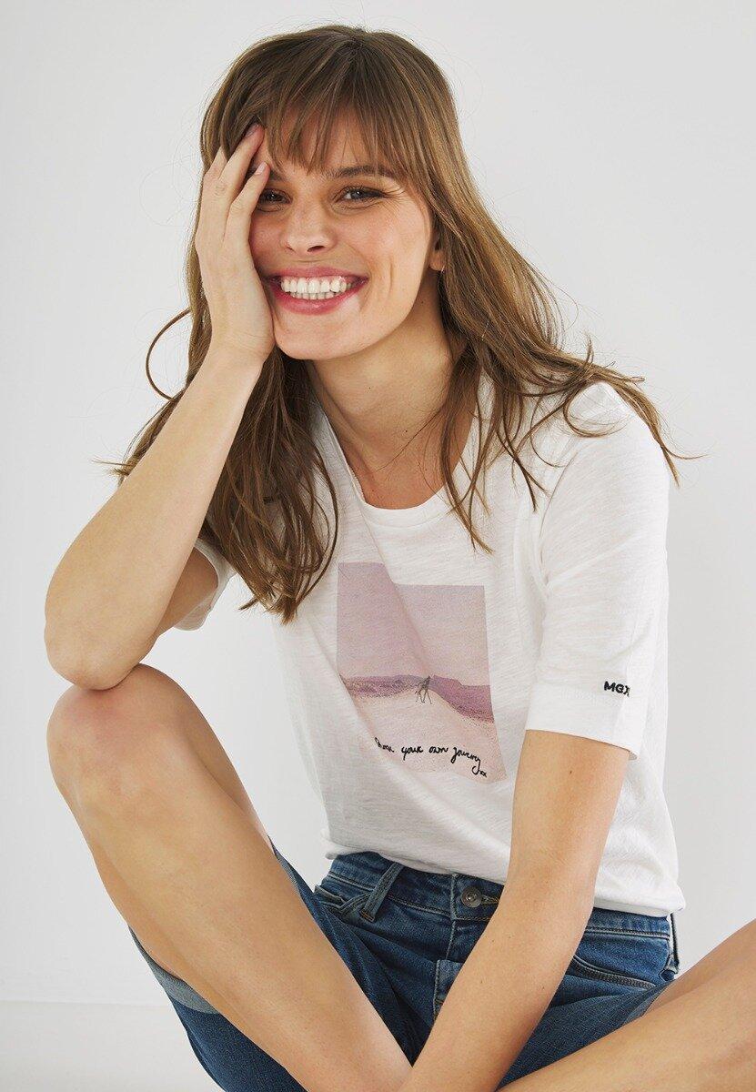 T-shirt Met Gebroken Witte Fotoprint