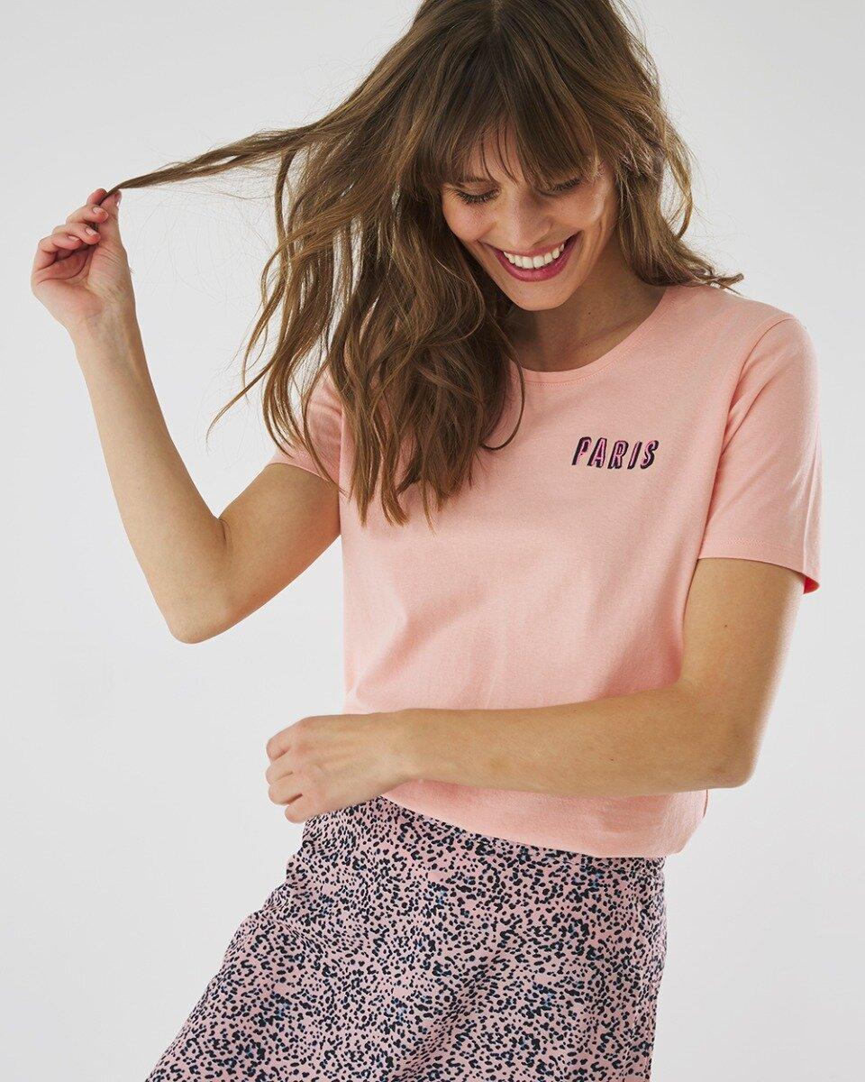 T-shirt Parijs Zacht Roze