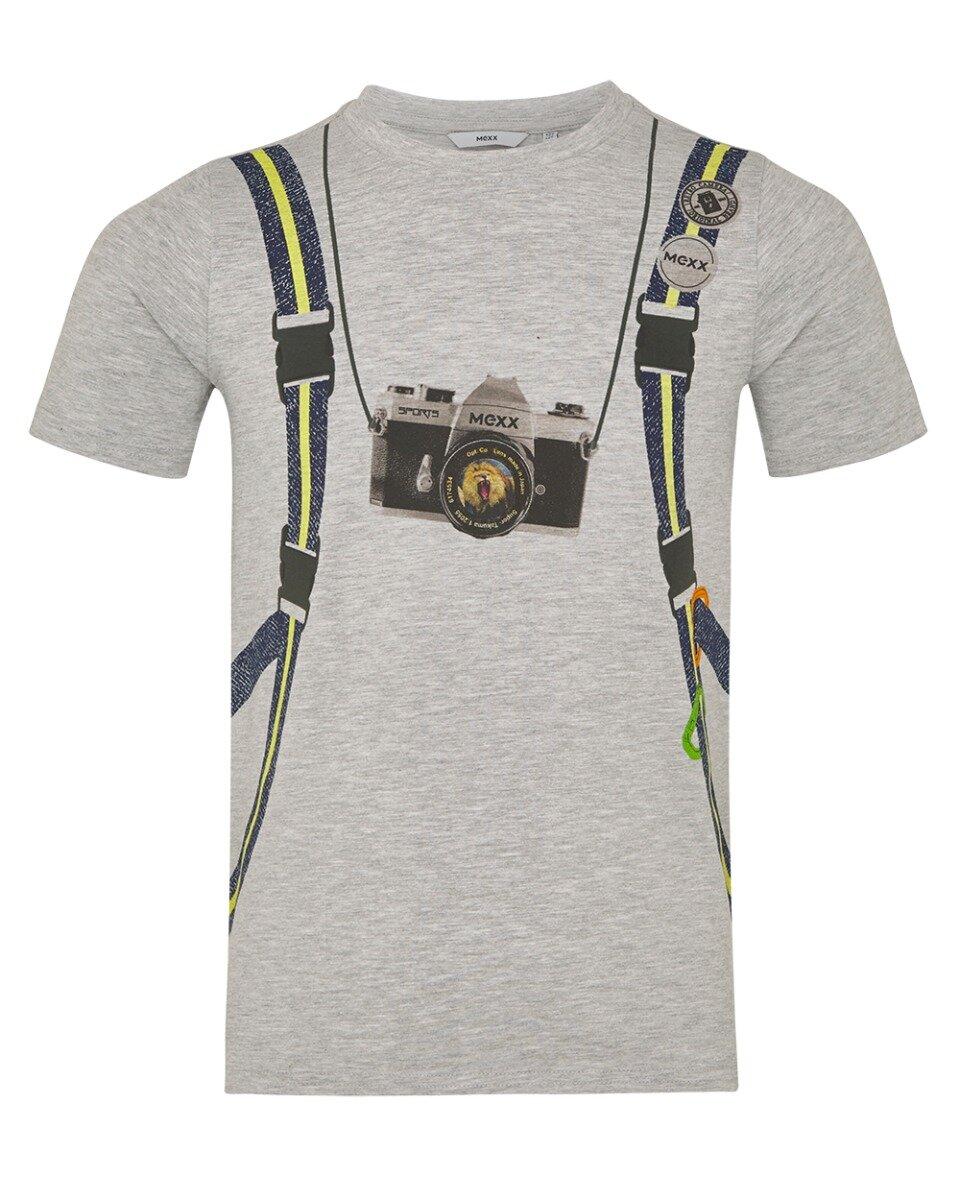 Grijs gemêleerd T-shirt met print